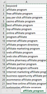 affiliate program keyword phrases