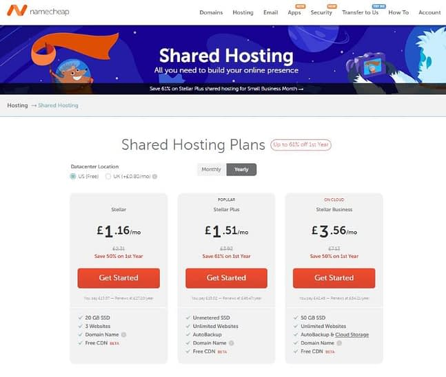 Namecheap shared hosting