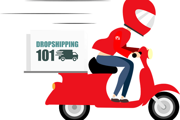 Drop shipping, Man on moped with a dropshipping 101 delivery box